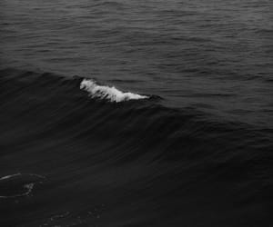 black, black and white, and sea image