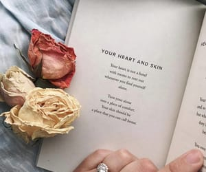 books, flowers, and quotes image