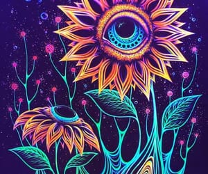 flowers, trippy, and art image