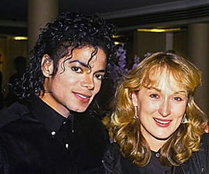 michael jackson, meryl streep, and black and white image