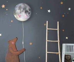 bedroom, bear, and moon image