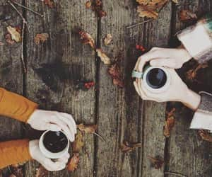 autumn, coffee, and leaf's image