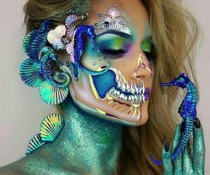 makeup, Halloween, and mermaid image