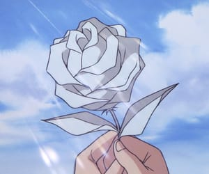anime, rose, and sky image