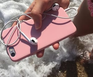 iphone, pink, and beach image