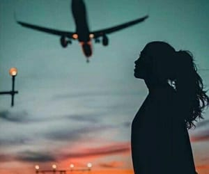 girl, airplane, and travel image