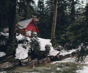 log cabin, mountains, and forest image