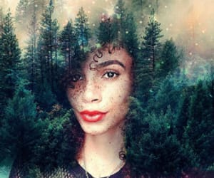 Afro, black magic girl 1, and flowery galaxies image