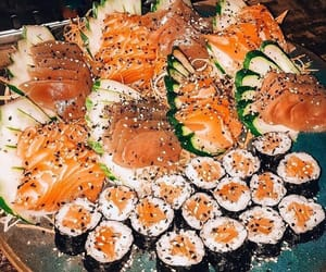 food, salmon, and seafood image