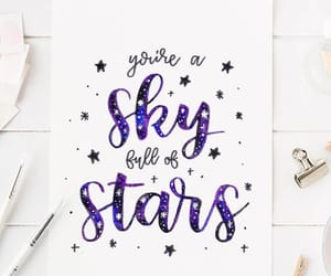 calligraphy, galaxy, and lettering image