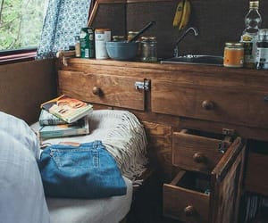 books, forest, and kitchen image