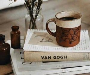 books, coffee, and van gogh image