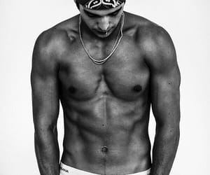 austin mahone, abs, and black and white image
