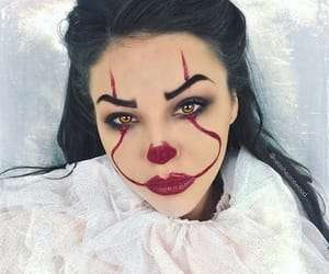 black hair, brunette, and clown image
