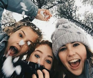 friends, snow, and winter image