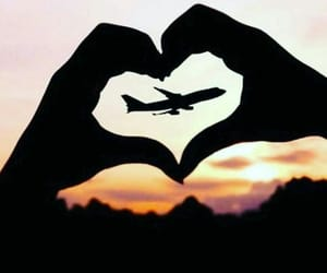 love, travel, and airplane image