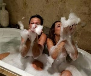 girl, bath, and friendship image