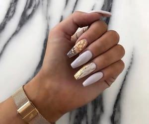 nails, beautiful, and gold image
