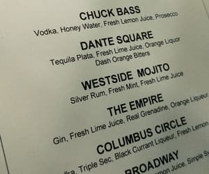 bar, chuck bass, and drink menu image