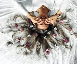 flowers, hair, and white image