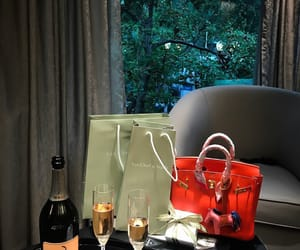 bag, champagne, and date image