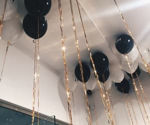 balloons, party, and black image