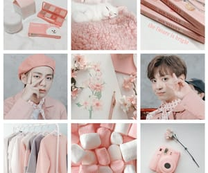 Collage, peach, and pink image