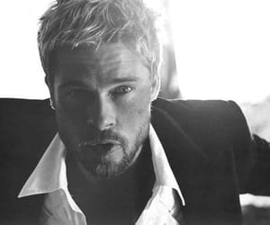 black and white, brad pitt, and suit image