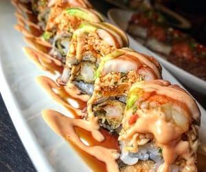 food, sushi, and sushi rolls image