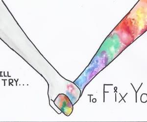 coldplay, fix you, and Lyrics image
