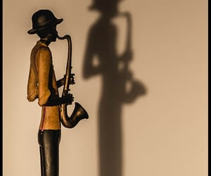photography, saxophone, and shadow image