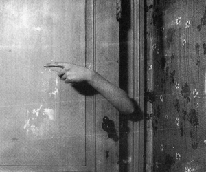black and white, door, and hand image