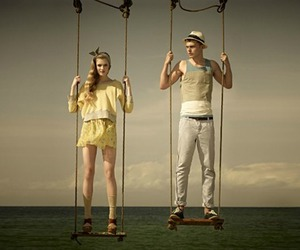 boy, swing, and couple image