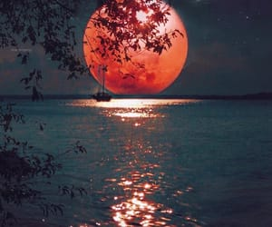 moon, ocean, and sunset image