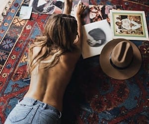 carpet, girl, and music image