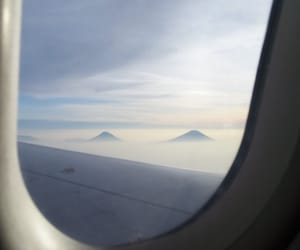 flight, mountain, and sunrise image