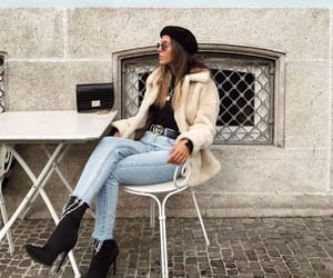 beret, outfit, and high heels boots image
