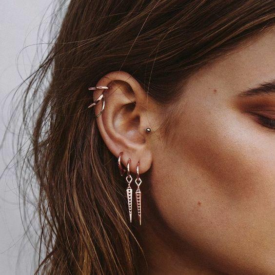 beautiful hair, girl eye, and helix piercing image