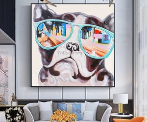 canvas, modern art, and dog painting image