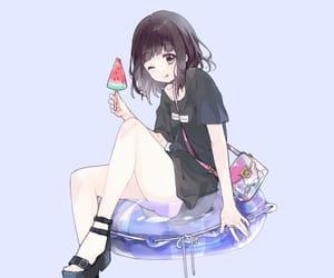 anime girl, fruit, and girl image