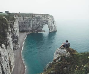 cliffs, flowers, and france image