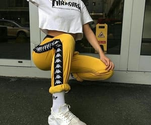 fashion, yellow, and thrasher image