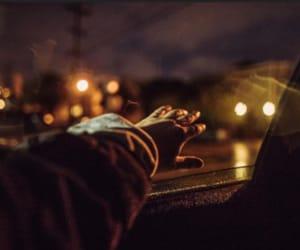 night, light, and hand image