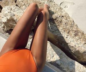 beach, legs, and orange image