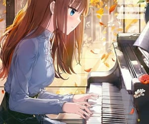 anime girl, anime, and piano image