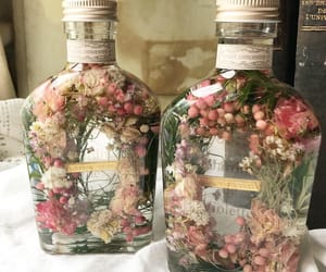 bottle, flower, and flowers image