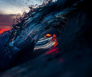 curl, sunset, and wave on fire image