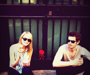 emma stone, andrew garfield, and spiderman image