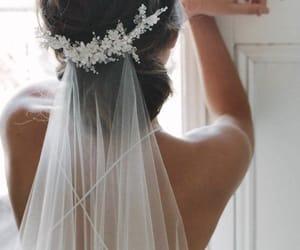 wedding, bride, and veil image