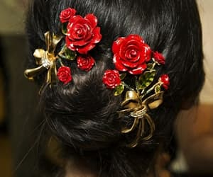 hair, rose, and red image